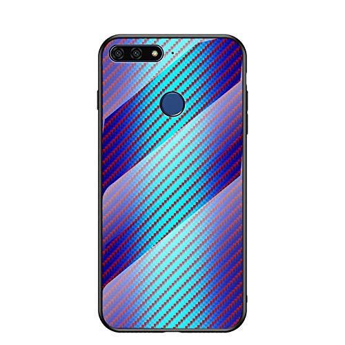 MadBee Coque pour Huawei Honor 7A [avec Film de Protection écran],Coque avec Revêtement Arrière en Verre Trempé avec Modèle de Fibre + TPU Silicone Souple Anti Choc Case Cover (Bleu)
