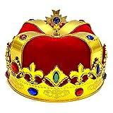 DEALBUHK King Crown Scepter Set Cosplay Niños Cos Sombrero Tocado Corona Red Gold Ropa de plástico Accesorios Adulto/Niños Halloween Ball Props 3 / PCS Scepter