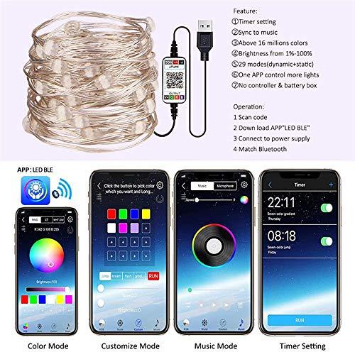 WElinks - Striscia luminosa a LED, Bluetooth, collegamento USB con il telefono, per decorazione albero di Natale, programmabile con app telecomando, per feste varie