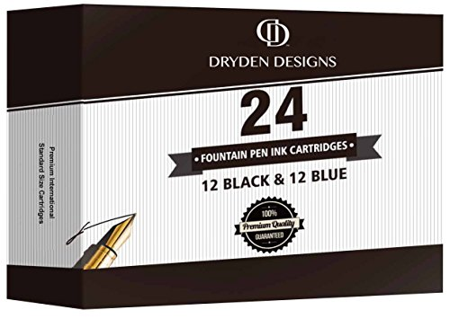 Fountain Pen Ink Cartridges - SET OF 24: 12 BLACK & 12 BLUE - Short International Standard Size - Disposable and Generic Ink Refill Cartridges - Perfect for Calligraphy