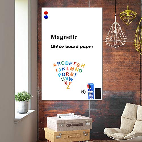 White Board Stickers,36'x 24' Magnetic Adhesive Dry Erase Wallpaper with 2 Markers and Magnetic Eraser, White Board Paper for Wall, Thicken Whiteboard Sticky Paper,No Ghost