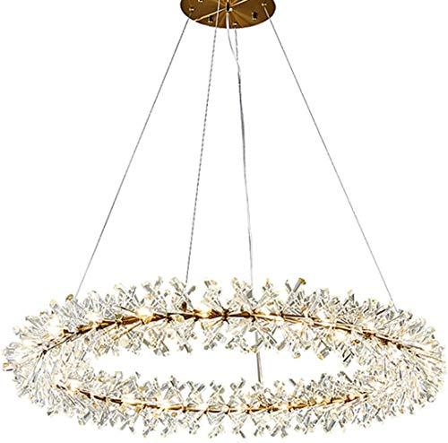 YQDSY Moderna Corona Redonda de Cristal Araña, Lujo Ajustable Lighting Colgante de Luces G4 Luces de Techo de Cristal para Sala de Estar Dormitorio Barra de Cocina Bar-Golden 80 * 1