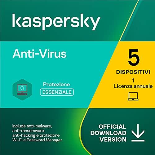 Kaspersky Anti-Virus 2021 | 5 PCs | 1 Anno | PC | Codice d'attivazione via email
