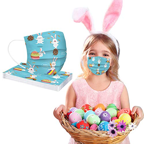CawBing Children Easter Disposable_Face_mask_protection Soft Breathable 3 Ply Popular Easter Eggs and Rabbit Printing Face_mask_protection for Outdoor Anti-dust (10 Pcs)