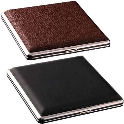 Cigarette Case King Size for Men Women Holds 20 Cigarettes Case Box Holder Leather Hard Metal Full Pack 84mm Regular Size 2 Pack (Black+Brown)