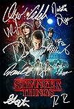 Póster de Stranger Things con autógrafos preimpresos de los 11 actores (30,5 x 20,3cm)...