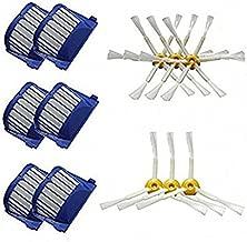 FirstDecor - Juego de 6 filtros Aero Vac y 3 Brazos + 6 Brazos Cepillo para Polvo Lateral para iRobot Roomba 500 600 Series 536 550 551 552 564 620 630 650 660 Robots de Limpieza al aspiradora