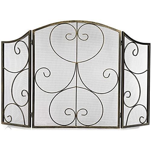 Pantalla de chimenea de bronce interior 3 Panel de hierro labrado Pantalla grande Metal al aire libre Cubierta de malla decorativa de fuego sólido Cerca de la hoja de la hoja de la hoja de la hoja del