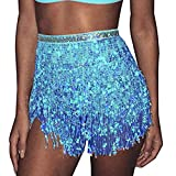 Mayelia Falda Rave con flecos y lentejuelas, falda con borla, danza del vientre, bufanda de cadera, traje rave para mujeres y niñas, azul, 40W regular
