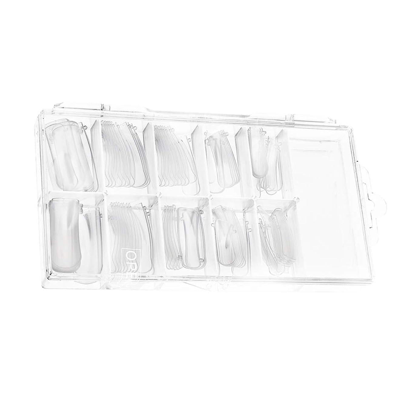 暖かくピクニックをする殺人たくさん100棺ネイルクリアバレリーナネイルのヒントロングフルカバーアクリルネイル個人用または業務用(クリア)用10サイズ