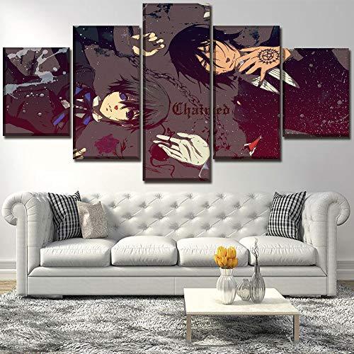 Eotifys Impresiones sobre Lienzo 5 Pinturas en Lienzo Arte en Lienzo Impresión en HD Pintura Decorativa para el hogar Anime Modular Códi