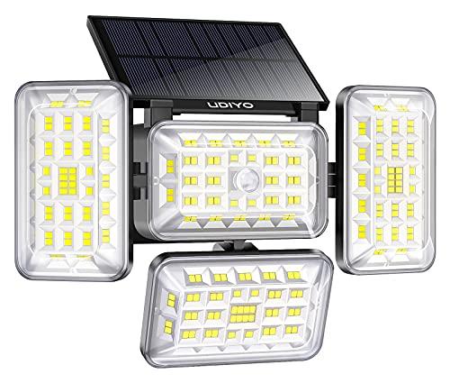ソーラーライト UDIYO 242LED センサーライト 電池式 屋外 太陽光発電 4面発光 高輝度 IP65防水 自動点灯 光&人感センサー 防犯ライト 野外ライト 3つ点灯モード 広角 壁掛け 照明 じんかんせんさー らいと 明るい 日本語説明書付き