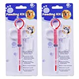 OUOU Pet Pill Dispenser, [2 Pack] Dogs and Cats Medicine Feeder Tool Kit Silicone Syringes for Cats Dogs Small Animals - Super Durable and Reusable Extremely Convenient (Red)