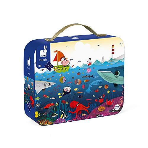 Janod - Valigetta rotonda puzzle sottomarino, 100 pezzi, valigia con maniglia, per bambini dai 5 anni in su, J02947