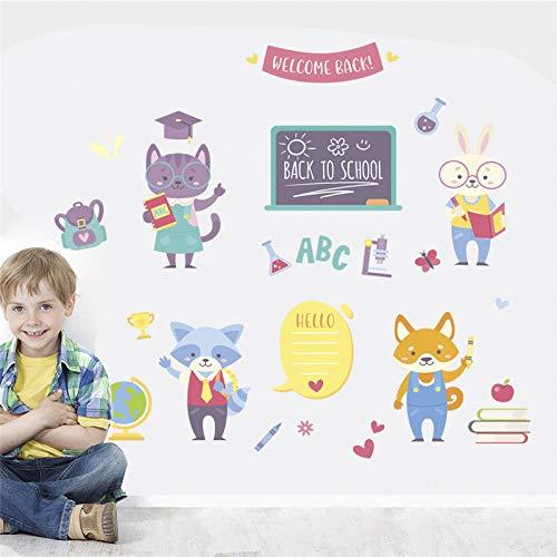 Sticker mural PVC Mignon Chat Lapin Fox Apprentissage pour Enfants Chambres Home Decor Animaux de Bande Dessinée Stickers Muraux Mural Art Diy Posters