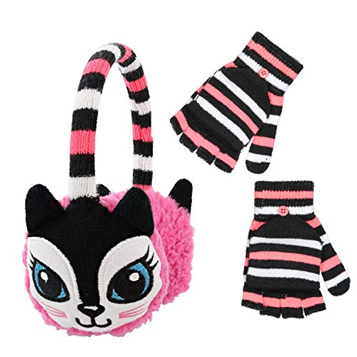 PEAK 2 PEAK Boys and Girls Animal Winter Earmuff and Cut Finger Gloves with Cover Set, Age 4-7 (Cat Earmuff)
