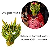 Jeash Scary Animal Latex Mask Halloween Costume Cosplay Props Halloween Devil Mask Animal Head Mask Masquerade Adult Party Costume Mask (Green)