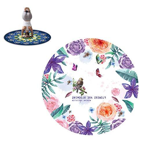Liuboli Meditatiemat, rond, yogamat, antislip, natuurlijk rubber, dik bedrukte vloermat, vrij van pvc en andere schadelijke chemicaliën, ideaal voor yogi's