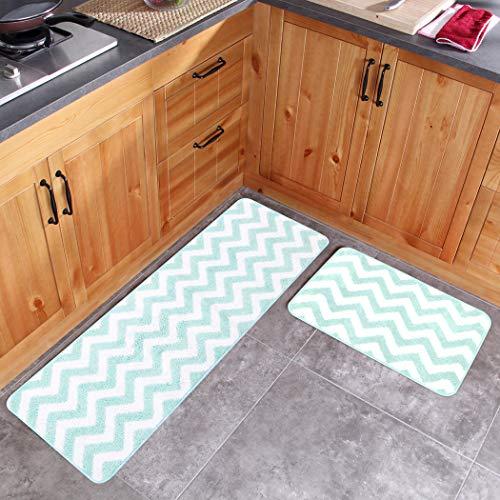 Carvapet 2 Stück Mikrofaser Chevron rutschfeste weiche Küchenmatte Badteppich Fußmatte Runner Teppich Set, 17