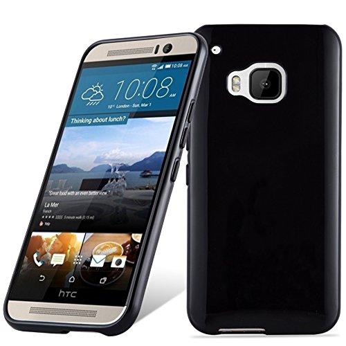 Cadorabo Hülle für HTC ONE M9 (3.Gen.) - Hülle in SCHWARZ – Handyhülle aus TPU Silikon im Ultra Slim 'AIR' Design - Silikonhülle Schutzhülle Soft Back Cover Case Bumper