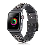 アップル腕時計のバンド 十字くぎ復古風 Apple watch series 5/4/3/2/1適用 本革の腕時計バンド ブラック 42/44mm