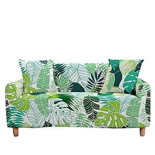 Surwin Funda Elástica para Sofá de 1/2/3/4 Plazas, 3D Plantas Tropicales Impresión Universal Cubierta de Sofá Cubre Sofá Antideslizante Lavable Sofa Couch Cover Protector (Selva,4 plazas - 235-300cm)