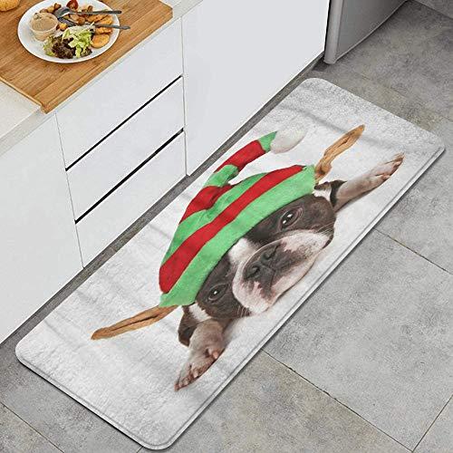 WOTAKA Alfombra de CocinaElf Boston Terrier con Gorro navideo en Las Orejas Disfraz Perro AnimalAlfombrilla de Cocina Antideslizante Gruesa45*120cm