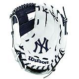 WILSON A200 MLB NYY Team, Guanto da Baseball Bambini, Bianco/Nero, 10'(Fino a 7 Anni)