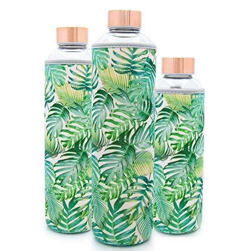 T&N Glasflasche – Trinkflasche Glas mit Neoprenhülle – Wasserflasche Auslaufsicher – Glastrinkflasche aus dickerem Borosilikat-Glas 550ml 750ml 1 Liter – Tropical Leaves Edition
