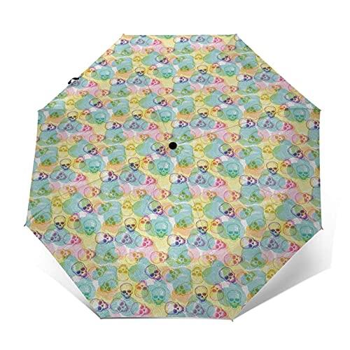 QFUNDAS Anti-UV Ombrello Pieghevole da Viaggio Antivento Automatico Pesce 419, Ombrello Compatto Pieghevole a Pioggia Grande Portatile Asciugatura Rapida con Pulsant