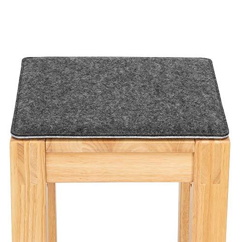 FILU Sitzkissen aus Filz 2er-Pack Dunkelgrau/Hellgrau eckig (Farbe und Form wählbar) 35 x 35 cm – Sitzkissen für drinnen und draußen, Deko für jeden Stuhl z.B. im Wohnzimmer oder Esszimmer