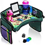Premium Kids Car Seat Tray - Bonus SNAKES + LADDERS Game & Dice | Reinforced Base + Walls | Detachable Kids Travel Tray | Portable Toddler Travel Activity Tray | Foldable Baby Car Tray For Kids In Car