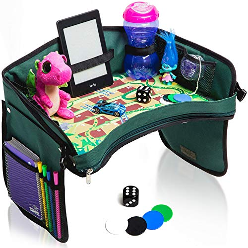 Premium Kids Car Seat Tray - Bonus SNAKES + LADDERS Game & Dice   Reinforced Base + Walls   Detachable Kids Travel Tray   Portable Toddler Travel Activity Tray   Foldable Baby Car Tray For Kids In Car