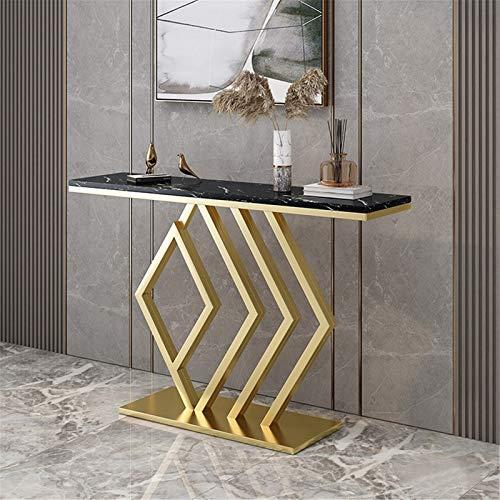 DYecHenG Mesa de Consola Moderno Minimalista Porche gabinete Forjado Hierro Porche marmol Tablet para Pasillo de Entrada (Color : Black, Size : 100x80x30cm)