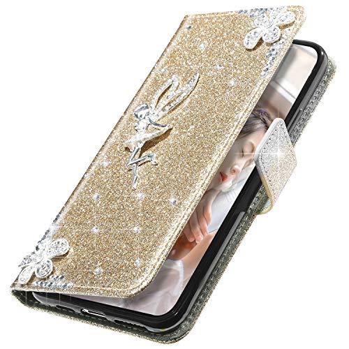 MoreChioce kompatibel mit Samsung Galaxy S6 Edge Hülle,Galaxy S6 Edge Klapphülle,Kreativ 3D Fee Glitzer Handyhülle Protective Brieftasche Wallet Magnetische mit Kartenfach Standfunktion Gold
