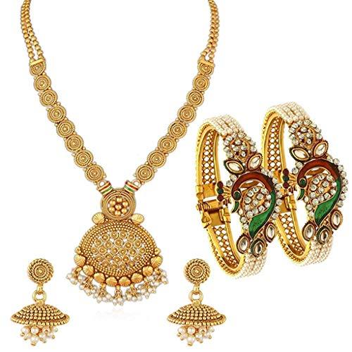 Conjunto de collar de boda chapado en oro con perla Kundan Peacock Meenakari y Kada Combo para mujer