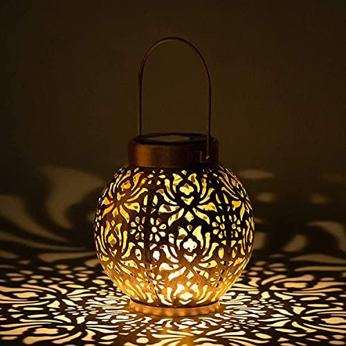 Kansang Farol solar colgante para exteriores, carga automática, luz LED, retro, decoración de metal (bronce)