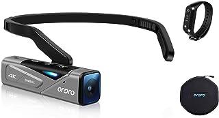 Ordro EP7 最新型 Vlog 4K 60FPS ビデオカメラ ウェアラブル式 ビデオカメラ FPV設計 二軸防振搭載 IP65防水 WI-FIアプリ制御 オートフォーカス 付随 W1リモコン キャリングケース