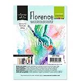 Vaessen Creative Papel de Acuarela Florence A5, Blanco Intenso, 300 gsm, Calidad de Artista, Superficie Texturizada, 15 Hojas para Pintar, Handlettering, Proyectos de Arte