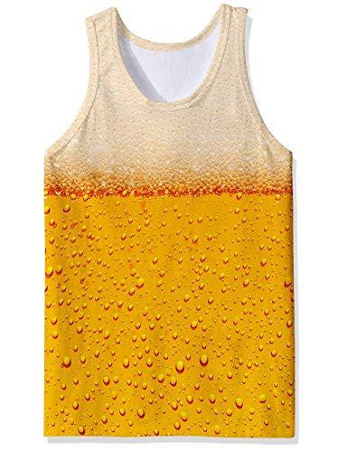 chicolife chicolife 3D Bier Print Lustige Muster Realistische Underwaist Gym Tanktops für Herren groß