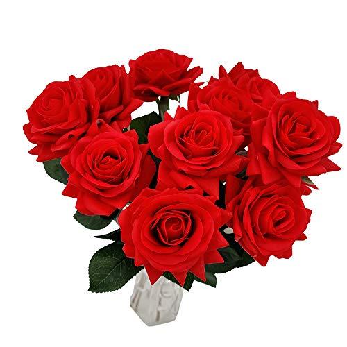 LOHAS Home Stelo Lungo Fiore di Rosa Artificiale con Tocco Umido 12 Pezzi Bouquet di Fiori Finti per Decorazioni per la casa Festa Nuziale (Rossa)