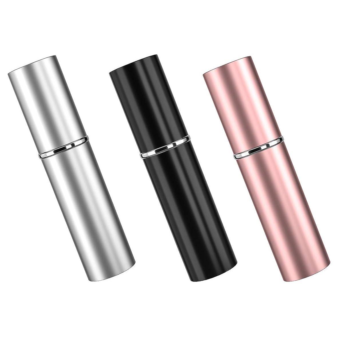 まだら配当気をつけてアトマイザ 香水 3色セット 詰め替え容器 スプレーボトル 小分けボトル トラベルボトル 旅行携帯便利 男女兼用 6ml 漏斗付き (ピンク、ブラック、銀)