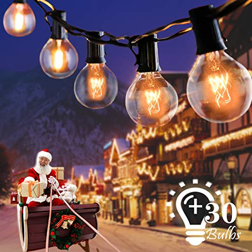 Lichterkette Außen, Aleenun 9.6 Meter G40 Lichterkette Garten (27 Birnen+3 Ersatzbirnen), Wasserdicht Innen Außen Lichterkette Glühbirnen für Party Balkon Hochzeit Halloween Weihnachten, Warmweiß
