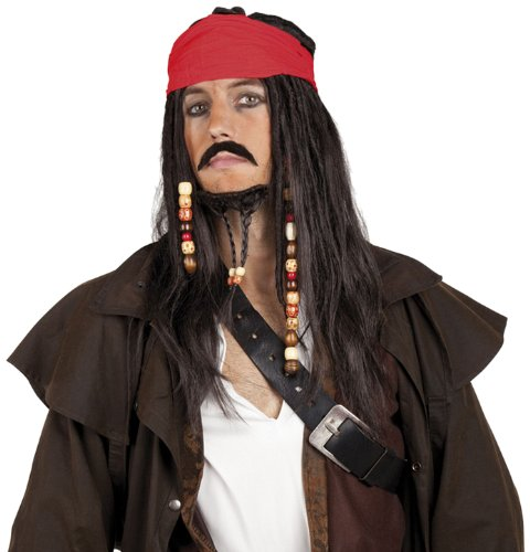 Pirates Wig with Bandanna Moustache and Goatee (peluca)
