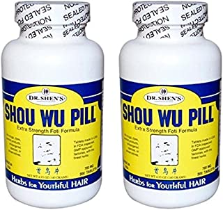 Dr. Shen's Shou Wo Youthful Hair (Pack of 2) Fleece Flower Root, Szechuan Lovage and Hoelen Mushroom, 200 Tablets Each