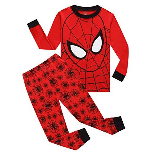 CSLEEPWEAR PJs New Super Héroe De La Araña Roja De La Impresión De Algodón De Los Niños Pijamas Set Cómodo Y Transpirable Moda Adecuado para Niños De 2-7 Años Spiderman-2Y