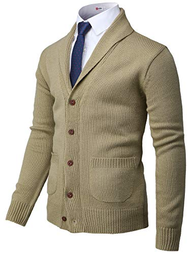 H2H Mens Casual Slim Fit Cardigan Sweater Cable Knitted Button Beige US M/Asia L (CMOCAL037)