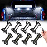 SWATOW INDUSTRIES Truck Bed Lights with Switch 8 Pods Truck Cargo Lights Pickup Truck Accessories Waterproof LED Truck Bed Lights Kit for Pickup Truck RV SUV Car Vans Boats - White
