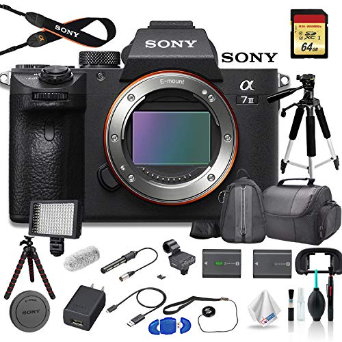 Sony Alpha a7 III Full-Frame Mirrorless Digital Camera (Body Only) Bundle - with Bag, Tripod, Extra Battery, Mic, LED Light, 64GB Memory Card, Sling Bag, Memory Card Reader and More.