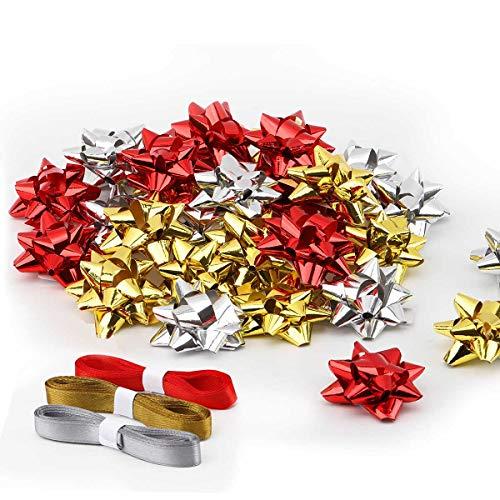 Ulikey 30pcs Geschenkschleife Selbstklebende Dekoschleifen Kleine Selbstklebend Gold, Silber, Rot Metallische Geschenkbände für Weihnachten, Hochzeit, Party, Geburtstag, Valentinstag